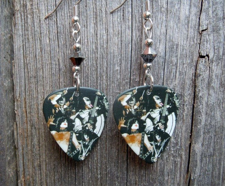 Kiss Members On Stage Guitar Pick Earrings with Silver Swarovski Crystals