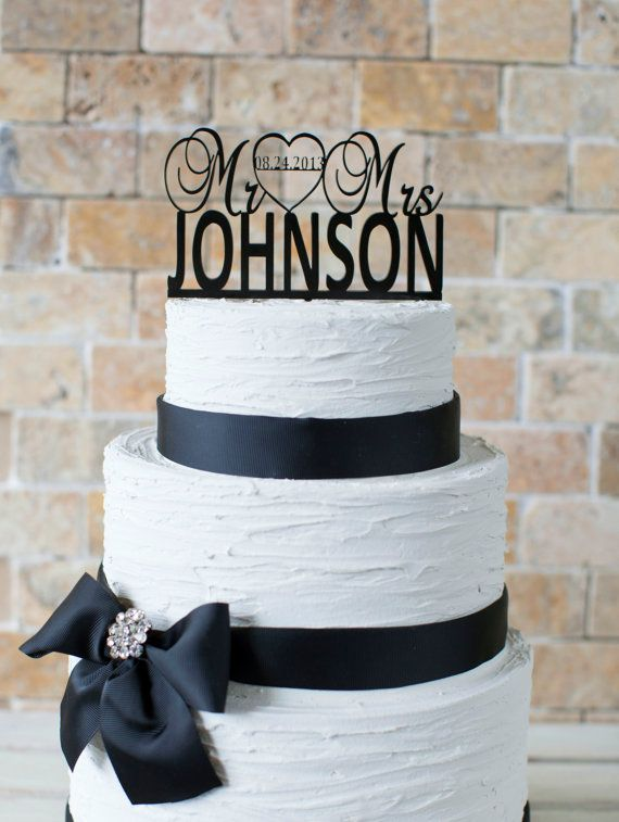 Wedding Cake Topper 6x3.5 item number 10047 by VVDesignsShop2 - Navy blue ribbon with textured icing.