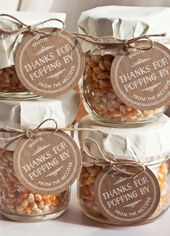 Talk about a way to get things popping! These popcorn kernels are an adorable way to thank guests for attending.