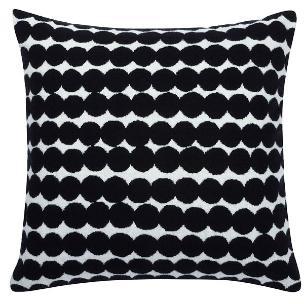 Räsymatto cushion cover, black, by Marimekko.