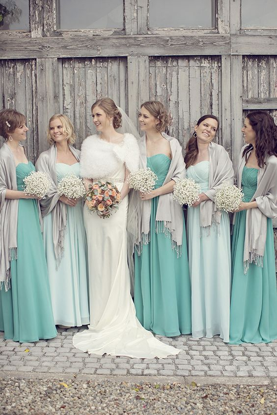 Turquoise and light blue bridesmaid dresses | Bride and Bridesmaids cover up ideas | Wedding cover ups | fabmood.com :