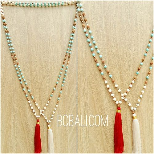 2color bali tassels necklaces beads stone rudraksha - 2color bali tassels necklaces with beads stone rudraksha