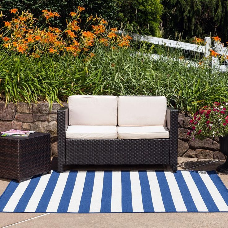 Striped White Blue Outdoor Rug