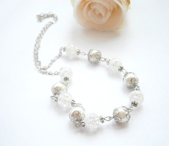 Bridal Pearl Necklace  Glass Pearl Jewelry  by GlamorousSparkle, €15.00
