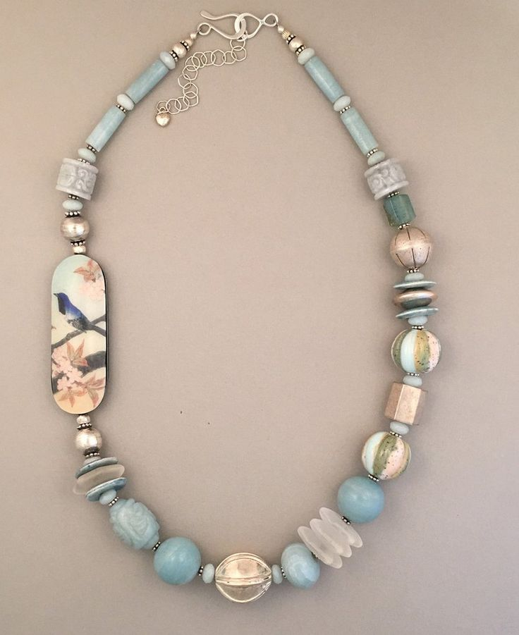 Beautiful amazonite handcrafted necklace by Sharon Cipriano. Love the Japanese bird focal bead!