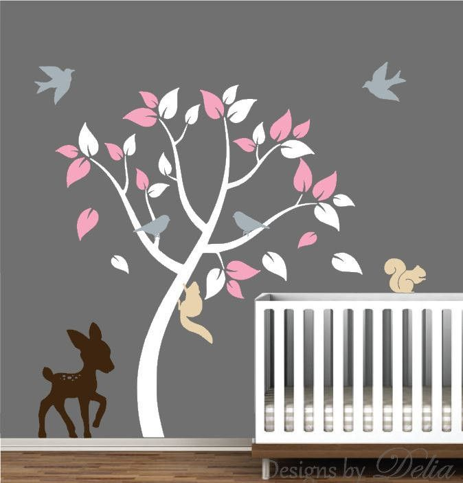 """♥♥♥♥ Included ♥♥♥♥ 1 Tree - 65"""" tall by 48"""" wide (Comes in separate pieces for easier installation) 1 Deer - 25"""" tall by 16"""" wide 2 Squirrels 4 Birds Leaves Directions for applying your decals ♥♥♥♥ Co"""