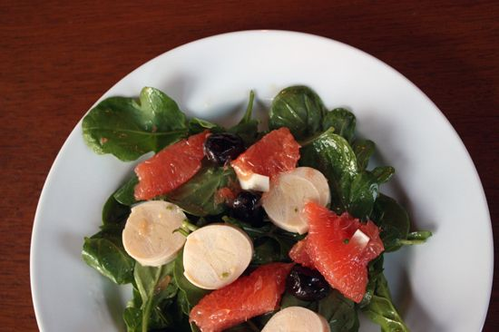 Arugula with Grapefruit, Oil-cured Olives and Swamp Cabbage