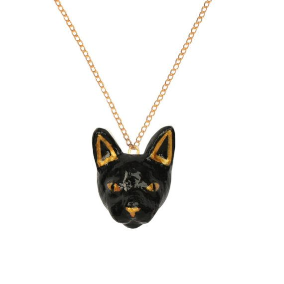 BLACK CAT Head Necklace animal necklace Hand by OhMyGodJewels