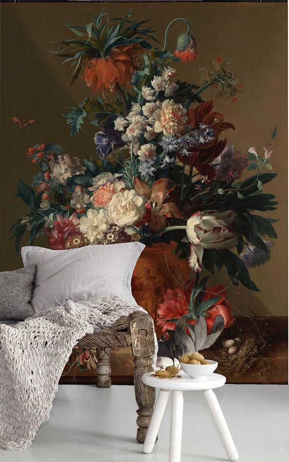 Vase of Flowers wallpaper - painting oil wall paper - wall art decor - Removable Self Adhesive peel and stick wallpaper / wall murall / #1