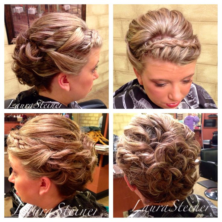 Wedding updo with headband-style braid, volume at the crown, and curls. Another client with hair above the shoulders, styled to help the hair appear longer. Medium length hair updo. | @hair_by_laurasteiner