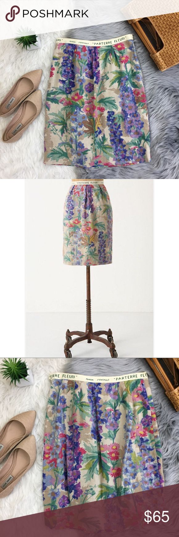 Anthropologie Floreat Gadiolus Floral Linen Skirt Anthropologie Floreat Gladiolus Linen Skirt   Rare style/design. Knee-length. Florals and pastels. Side zipper. Sold at Anthropologie. Retails at $168. Size 2. Length: 21 in Waist: 13.5 in flat Anthropologie Skirts