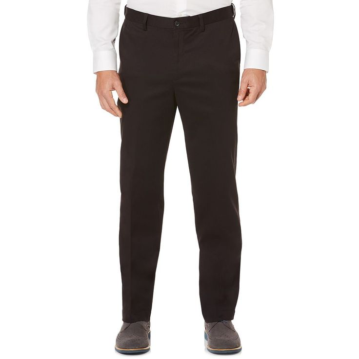 Men's Savane Ultimate Straight-Fit Performance Flat-Front Chino Pants, Size: 38X29, Grey (Charcoal)