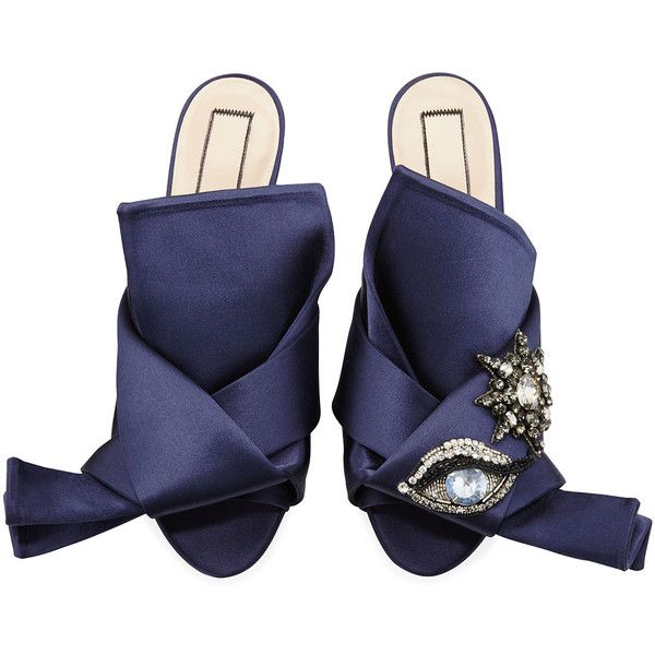 No. 21 Crystal Eye Satin Flat Slide Sandal found on Polyvore featuring shoes, sandals, navy, shoes ballerina flats, flat slide sandals, flat pumps, navy ballet flats, ballerina flats and embellished sandals