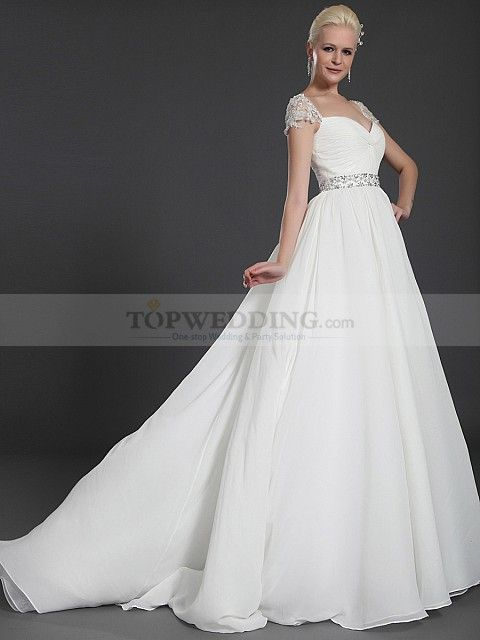 Cap Sleeved Criss Cross Bodice Chiffon over Satin Wedding Gown with Beading