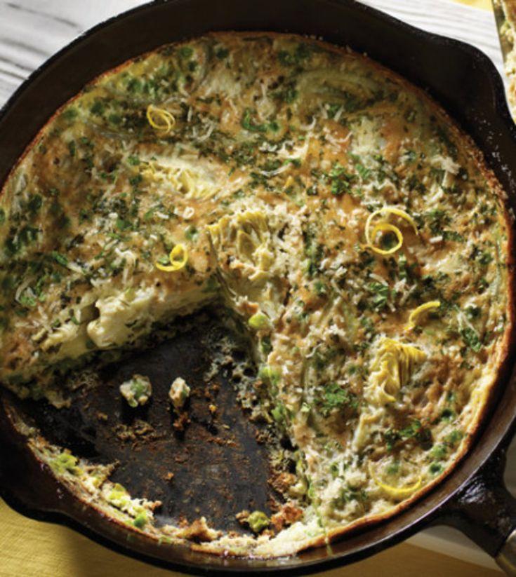 Spring Frittata with Lemon, Artichoke & Peas image