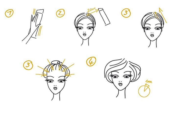 Application du spray colorant ephemere Bye Bye Racines :  1. Agiter le flacon avant utilisation   2. Vaporiser à 20 cm des cheveux   3. une pression longue sur toute la longueur de la raie        ou 3 bis.  Des petites pressions en suivant la bordure des cheveux       4.      Laisser sécher 1 minute  http://www.bye-bye-racines.fr/application/