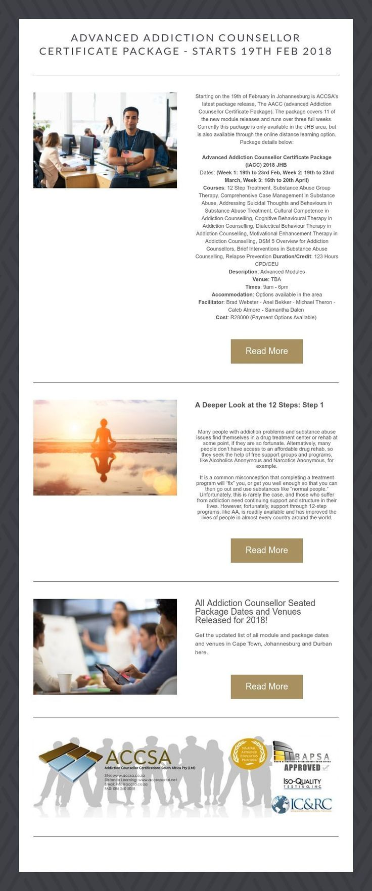 Advanced Addiction Counsellor Certificate Package - Starts 19th Feb 2018