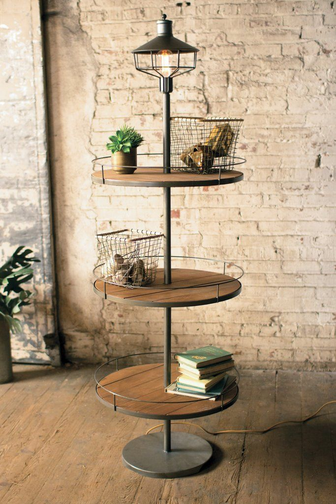 Three Tier Wood Display Floor Lamp
