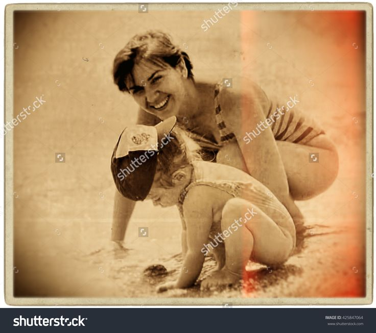 Mother And Daughter Playing On Beach.Caucasian. Digital Processing, Illustration. - 425847064 : Shutterstock