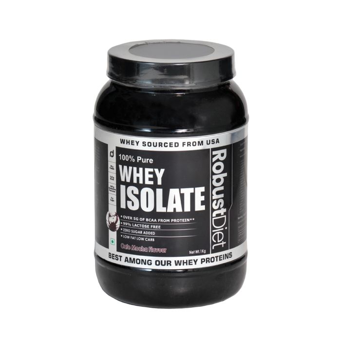 Buy RobustDiet Whey Protein Isolate Online in India. Find 100% pure Whey Protein Isolate in each serving which enhances your muscle performance and endurance for heavy workout sessions without adding extra carbs and fat. Buy online Whey Protein Isolate Café Mocha Flavor, Sugar Free at an affordable Price. Enjoy Free Shipping on all orders.