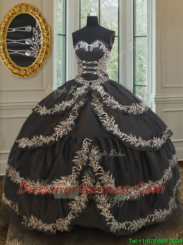 2017 Exclusive Taffeta Black Sweet 16 Dress with Embroidery and Ruffled Layers, Mexican quinceanera dress, quinceanera gown with ruffled layers, in stock quinceanera dress, quinceanera gown, sweet 16 dress,