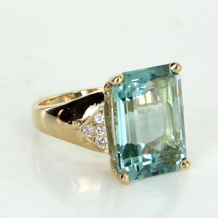 Large 15.50ct Aquamarine Diamond Cocktail Ring Vintage 14 Karat Yellow Gold Estate Jewelry