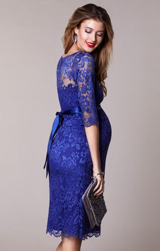 Rich and regal shades of Royal Blue lace meet the popular Amelia dress for a stunning maternity style perfect for any special occasion.