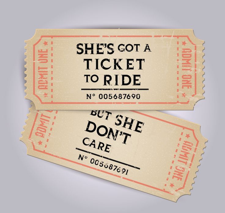 Music Humor | Visual Pun | She's Got A Ticket To Ride & She Don't Care | The Beatles