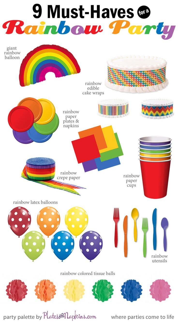 9 Must-Have Party Supplies for a Rainbow themed party.