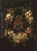 A garland of fruits surrounding a niche with angels worshipp...  by Frans Ykens