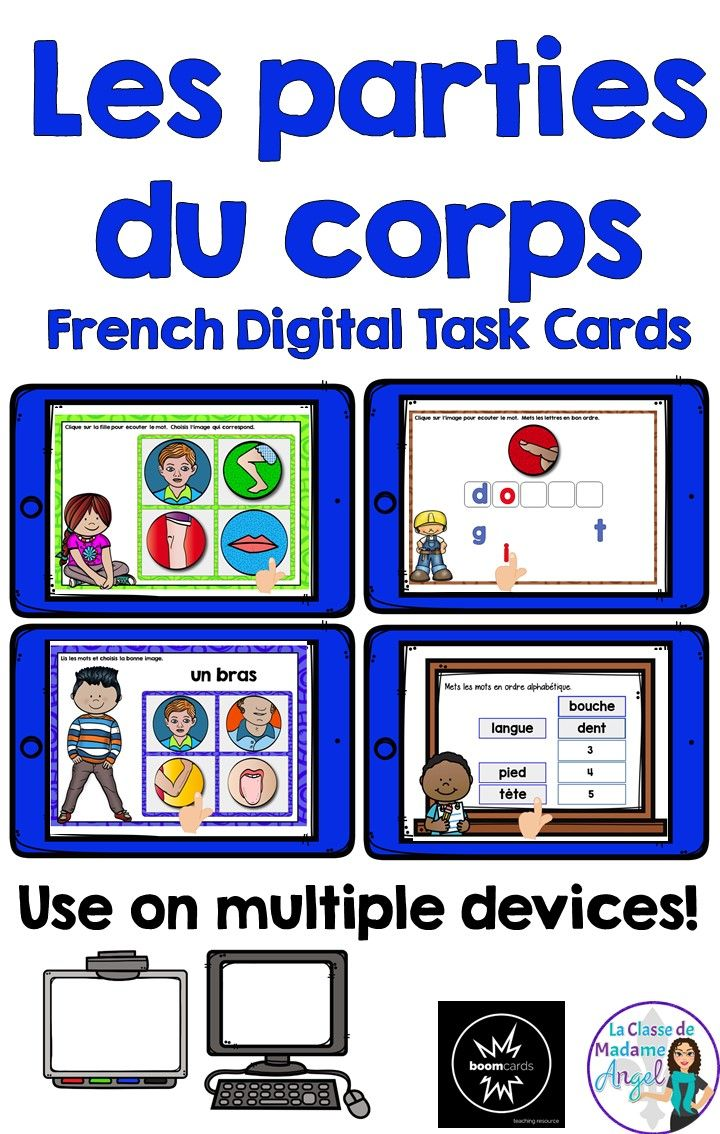 Les parties du corps.  Your early French learners will have fun practicing the parts of the body with this set of 4 digital task cards!  Playable on any device, students will be engaged as the listen to, read, spell and alphabetise a variety of parts of the body.