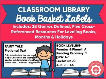 "<strong>See a (large) sample of the book basket labels by downloading the preview!</strong>  Are you looking for a smart way to organize your classroom library? These labels are perfect for grades 2-8! The labels help students find their ""just right"" reading (a challenge with so many different leveling systems) AND grow their understanding of reading genres too!  Example: Books in your library might be leveled using Fountas and Pinnell. But students are assessed us..."
