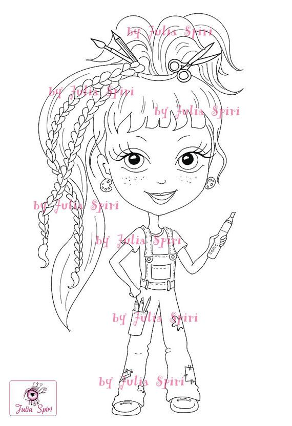 Digital stamps Girl stamps Digi Craft Big Eyes Cute by JuliaSpiri