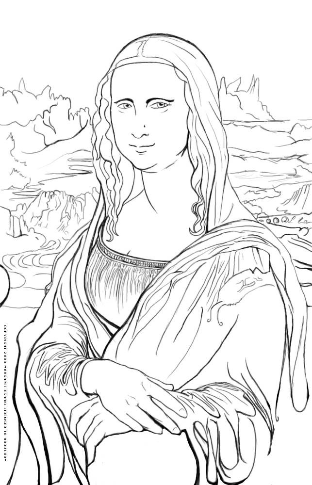 455 best images about coloring sheets on pinterest for Mona lisa coloring pages