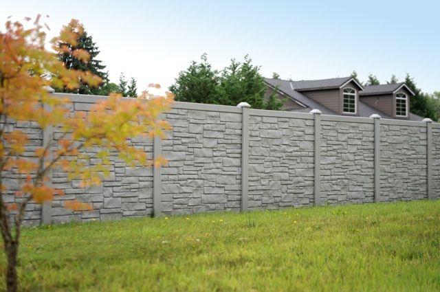 clôture de jardin en PVC imitation pierre grise