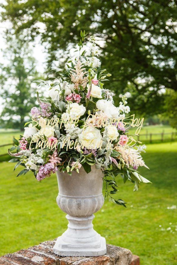 Floral Urn Pedestal Arrangement Summer Flowers Wedding