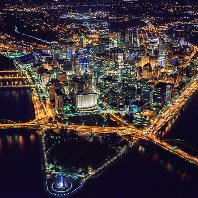 Downtown #Pittsburgh from the air is always beautiful, but the view at night is downright spectacular.