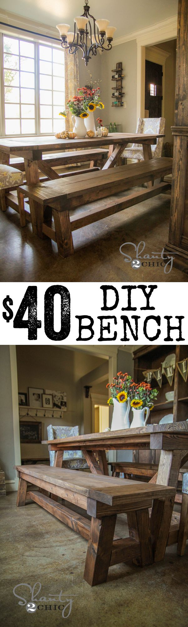 DIY Bench and Dining Table!  Beautiful and cheap