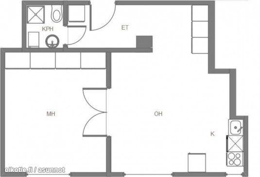 2 rooms + open kitchen (52 m2) / Kaksio avokeittiöllä, ikkunat yhdellä seinällä (52m2) #kaksio #pohjapiirros #floorplan