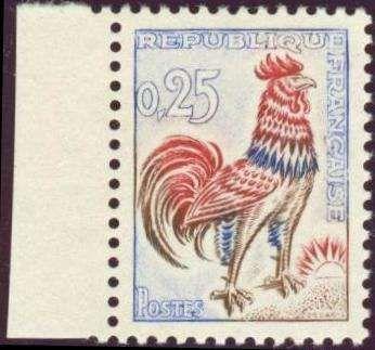 France (Specialties), Frankreich 1962, Goldener Hahn, postfrisch Pracht, vom linken Bogenrand (postfr., Yvert 1331 d / Mi.-Nr.1384y/Mi. EUR 1.000,--). Price Estimate (8/2016): 200 EUR.
