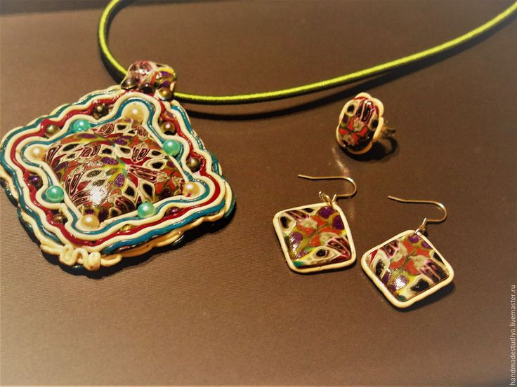 Купить Комплект укращений (кулон, серьги, кольцо) - комбинированный, комплект украшений, украшения ручной работы