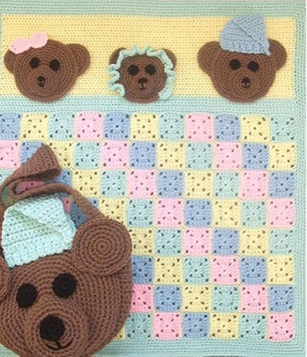 These bears have the right idea!!! They've found a nice soft bed and snuggled up under a crocheted blanket for the winter. Someone has managed to take their picture just before they closed their eyes!!! Papa Bear has a night cap on, Mama Bear went to bed with a bow on and Baby Bear and a bonnet on. Just make the squares any color you like and crochet them together t