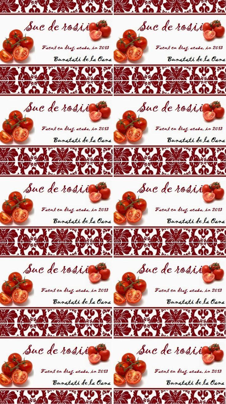 Etichete borcane - suc de rosii