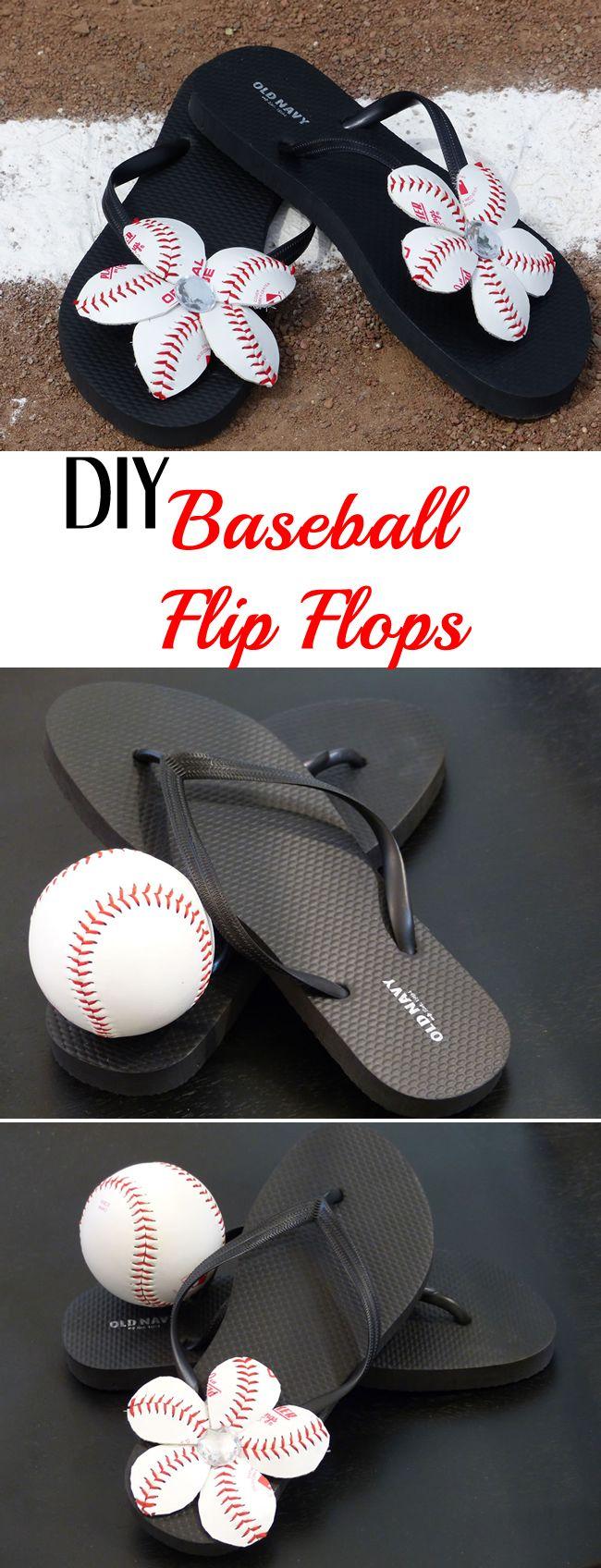 DIY Baseball Flower Flip Flops {Video Tutorial}Make your own DIY Baseball Flips Flops! Fun, easy and perfect for baseball season!