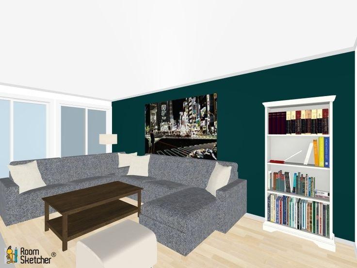 Stue med Oslo blå vegg