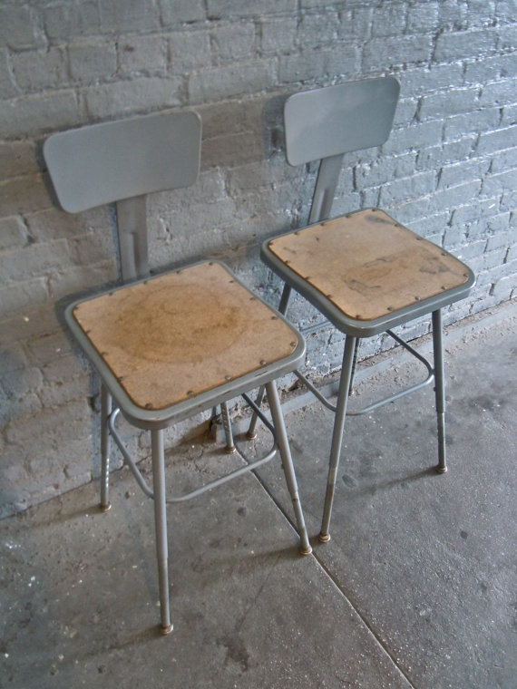 Set Of 2 Vintage Industrial Metal Bar Stools Industrial