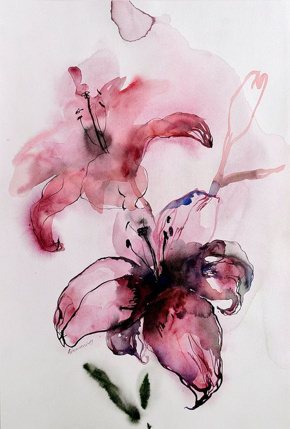 Pink lily  Original Watercolor Painting of by AlisaAdamsoneArt