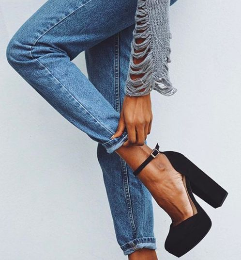 platform ankle strap pumps, cuffed jeans, the new sexy