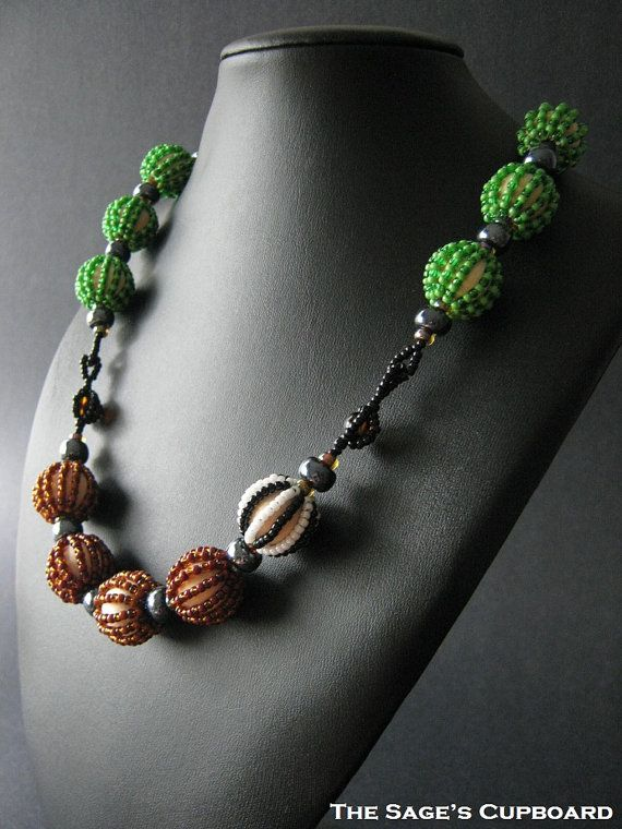 One Zebra Necklace. Beaded Wood Macrame Bead by sagescupboard