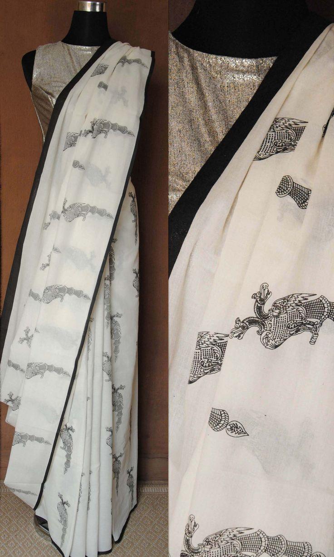 l14b Gandaberunda Imprint Hand Woven Soft Mulmul Cotton Sari